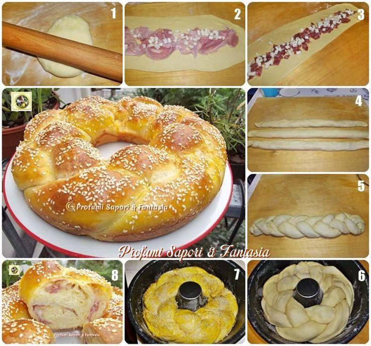 Treccia di pan brioche salata ripiena  Blog Profumi Sapori & Fantasia: 550 gr farina/ 250 gr latte/ 1 uovo/ 10 gr zucchero/ 10 gr sale/ 60 gr olio/ 1 cubetto lievito
