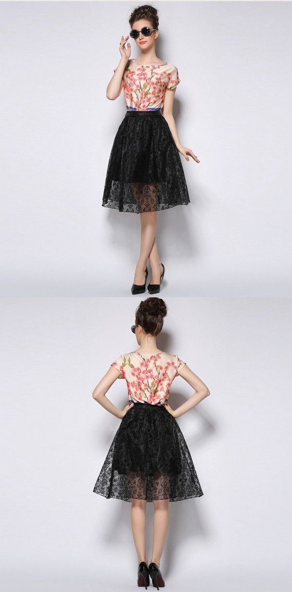 Floral Lace Pleats Skirts