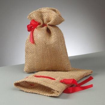 Petit Sac en toile de jute avec ruban rouge de serrage 14 cm. Pochette en jute, Pochon en jute natur