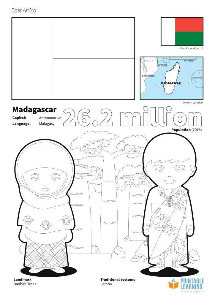 Flag Of Madagascar Coloring Page Africa Flag Coloring Pages Flag
