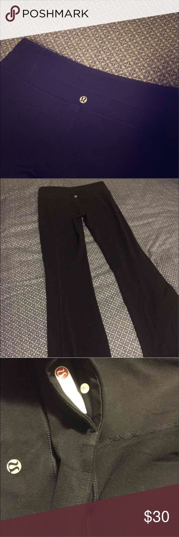 Lululemon reversible yoga pants Size 6, some of the stitching is pulled on the crotch, they can fix it at the lulu store. Priced accordingly. All black on both sides and the emblem is on the same place on both sides. lululemon athletica Pants Boot Cut & Flare