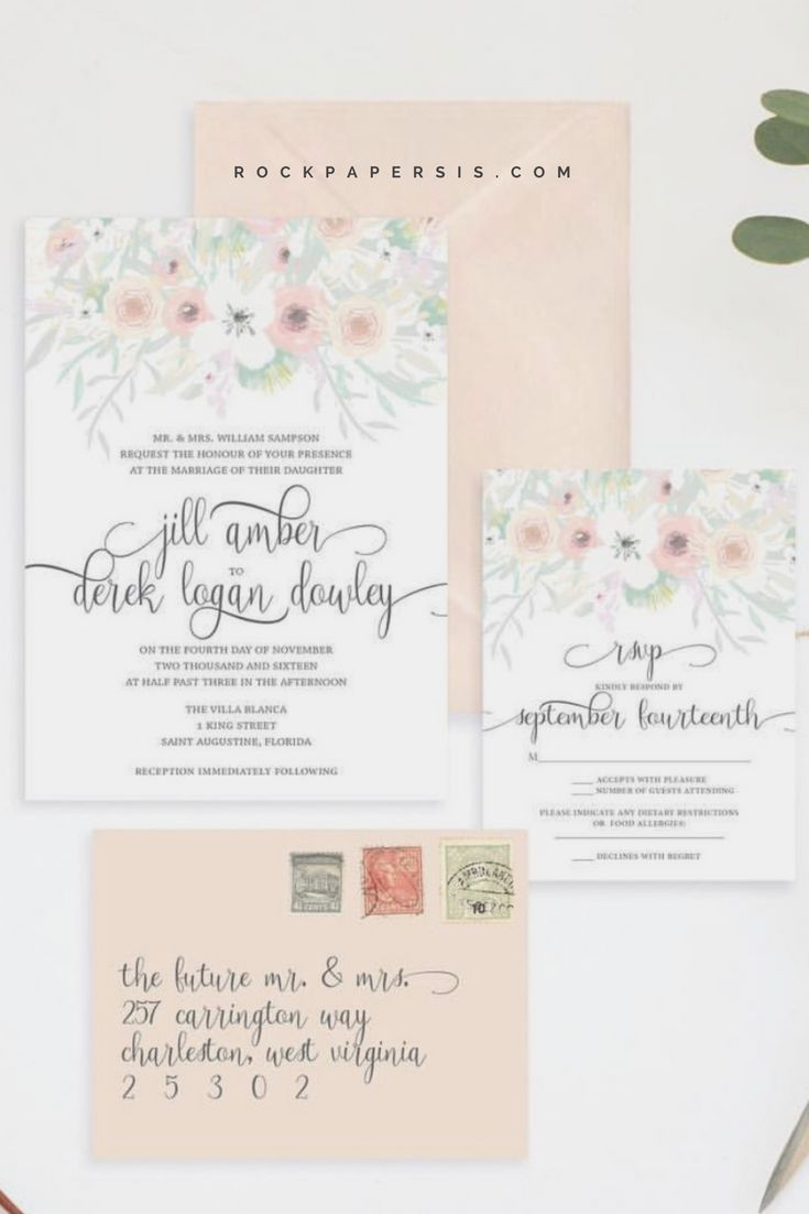 how to make wedding invitation card in microsoft word007%0A Beautiful Blush Wedding Invitation by Rock Paper Sisters   Watercolor  Florals   Watercolor Flower Invitation