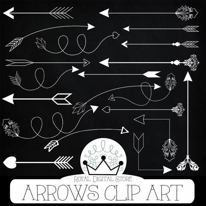 """Arrows clip art: """" ARROWS CLIP ART"""" with arrows clipart, hand drawn arrows, digital arrow, chalk arrow clipart + 3 Free chalkboard papers #white #tribal #planner #digitalpaper #scrapbookpaper"""