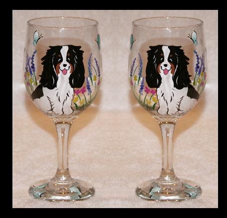 Cavalier King Charles Spaniel Wine Glasses CUSTOM by JennysDogArt, $25.00