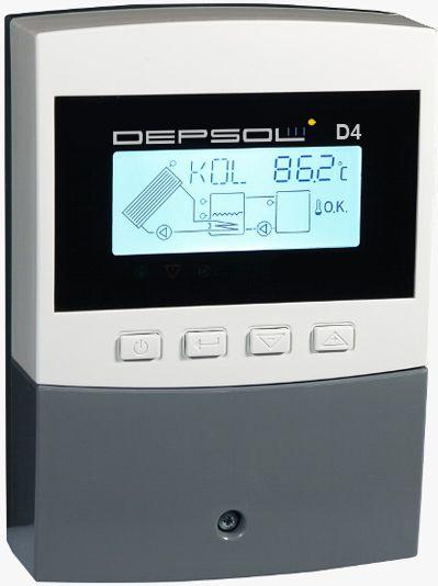 Sterownik solarny Depsol D4 do instalacji wyposażonych w kolektory słoneczne - 4 czujniki temperatury, 4 schematy, regulator solarny w dobrej cenie