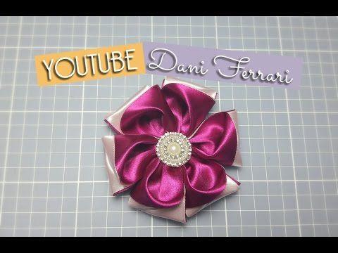 COMO FAZER FLOR DE FITA DE CETIM - TUTORIAL PASSO A PASSO - RIBBON FLOWER HAIR - DIY - Dani Ferrari - YouTube