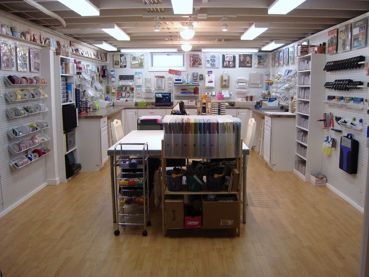 Very nice.  Don't know if I could leave so much empty space, I like my collections and mementos and the clutter of active creativity. Still, someone turned a nice chunk of basement into a craft haven.