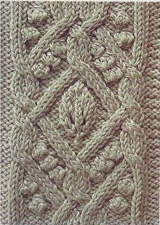 Free Knitting Patterns: Ornate cable with leaf and bobbles - With chart