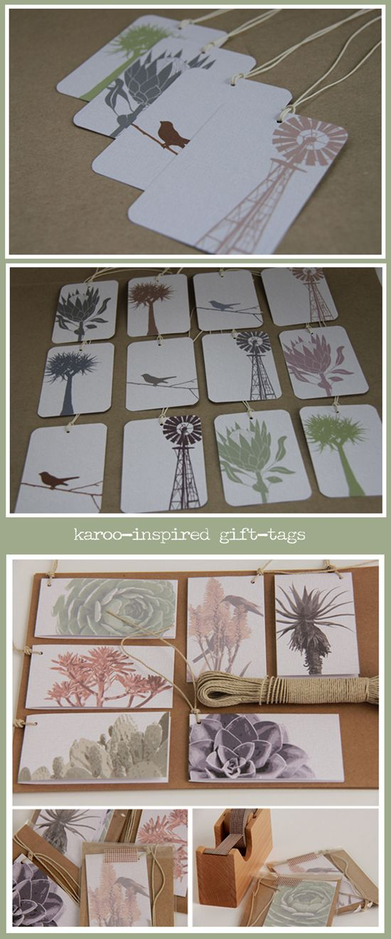 'Karoo' gift tags (R16 per pair, or R30 for set of 4) by PaperPeony, a stationery design studio in Stellenbosch. A Proudly South African product.
