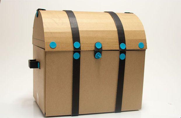 how to make a big cardboard treasure chest