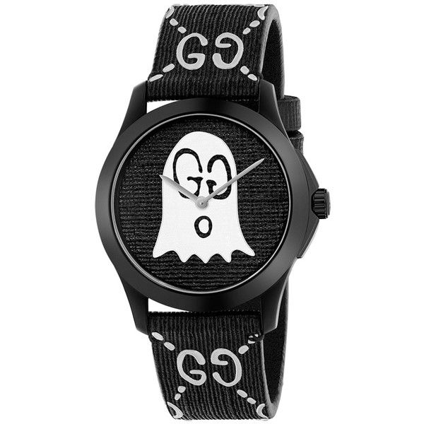 Gucci G-Timeless White & Black GucciGhost GG Watch (29,220 THB) ❤ liked on Polyvore featuring jewelry, watches, black white jewelry, sporty watches, gucci jewelry, black and white jewelry and rubber strap watches
