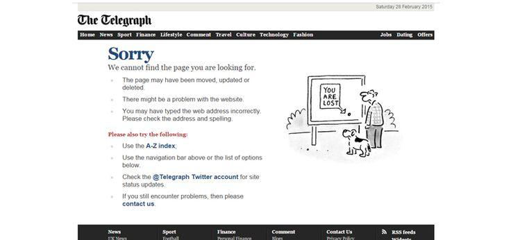 The Telegraph 404 error page
