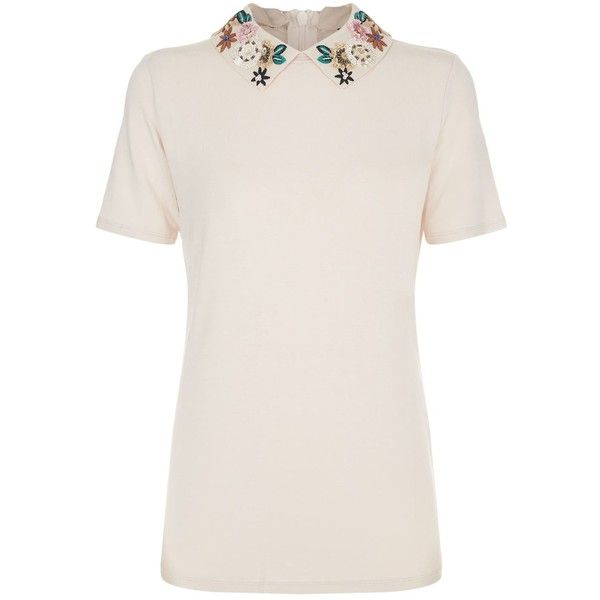 Weekend Max Mara Embroidered Collar Top ($125) ❤ liked on Polyvore featuring tops, pink tops, embroidered top, peter pan top, beaded top and peter pan collar top