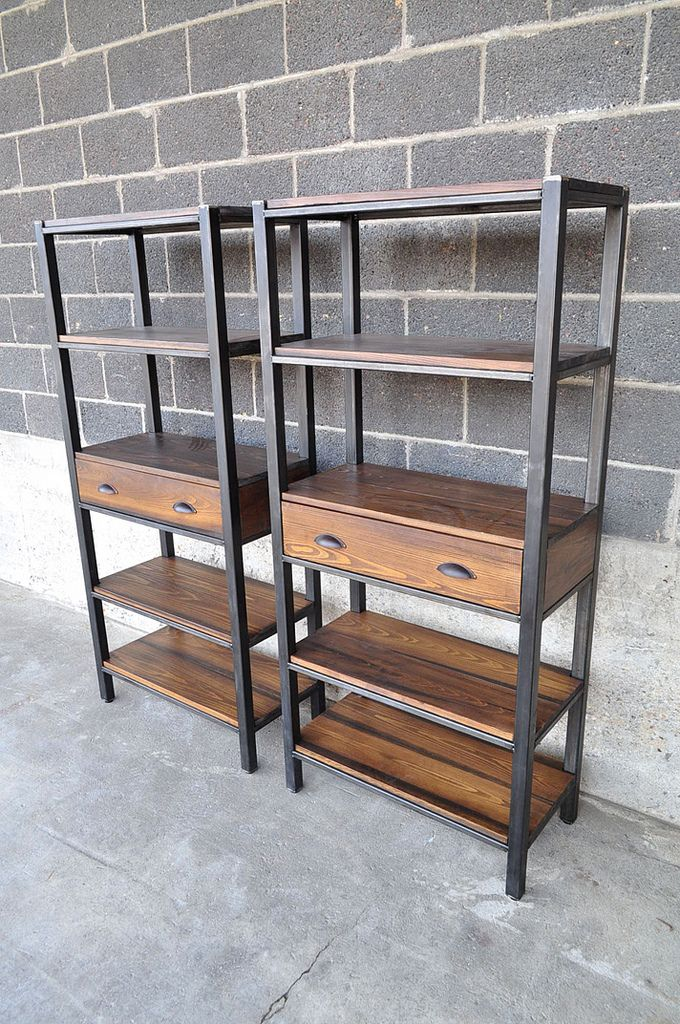 65 H x 30x 15 steel and stained cypress book shelves with drawers.