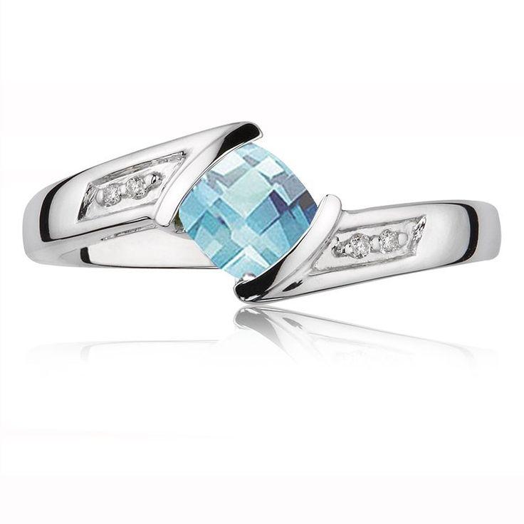 Aquamarine Gemstone & Diamond Ring in 10K White Gold