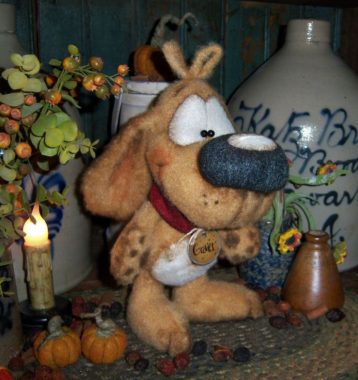 "Primitive Puppy Dog 8"" Standing Doll Vtg Patti's Ratties Bear Artist OOAK"