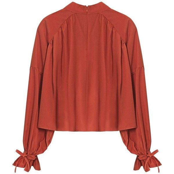 Yoins Yoins High-Neck Ruffled Blouse (94 ILS) ❤ liked on Polyvore featuring tops, blouses, apricot, shirts & blouses, trapeze shirt, red ruffle blouse, ruffle blouse, red shirt and flounce tops