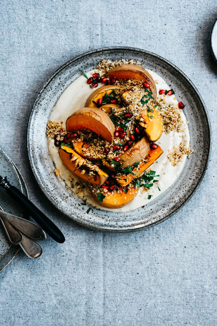 """Roasted Squash with Creamy Miso Garlic Sauce and Toasted Almond """"Breadcrumbs""""   TENDING the TABLE"""