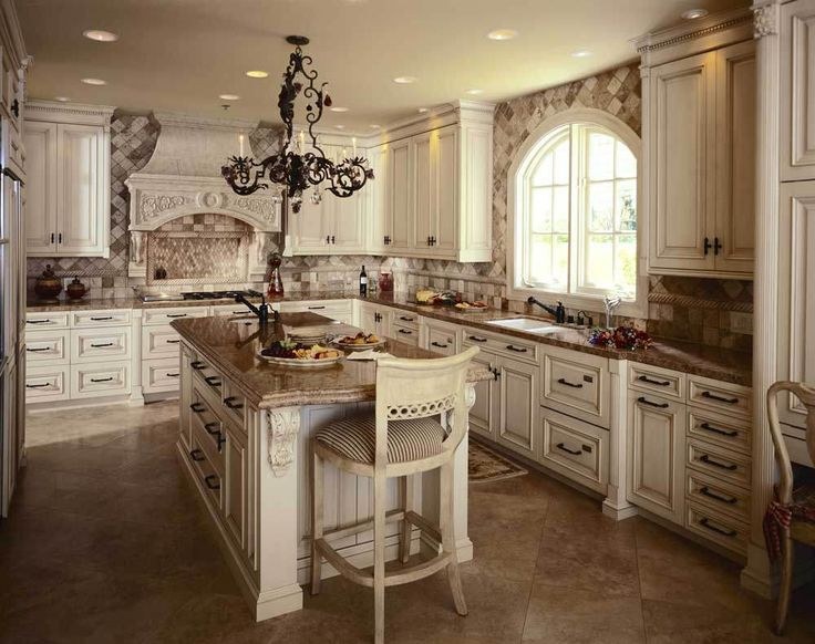 Fabulous Tuscan Style Kitchen Cabinets In White Color For Gorgeous Kitchen  With Artistic Metal Chandelier Part 10