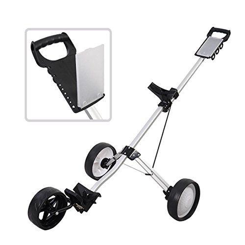 55c54173b025 New Foldable 3 Wheel Push Pull Golf Cart Folding Trolley Three ...