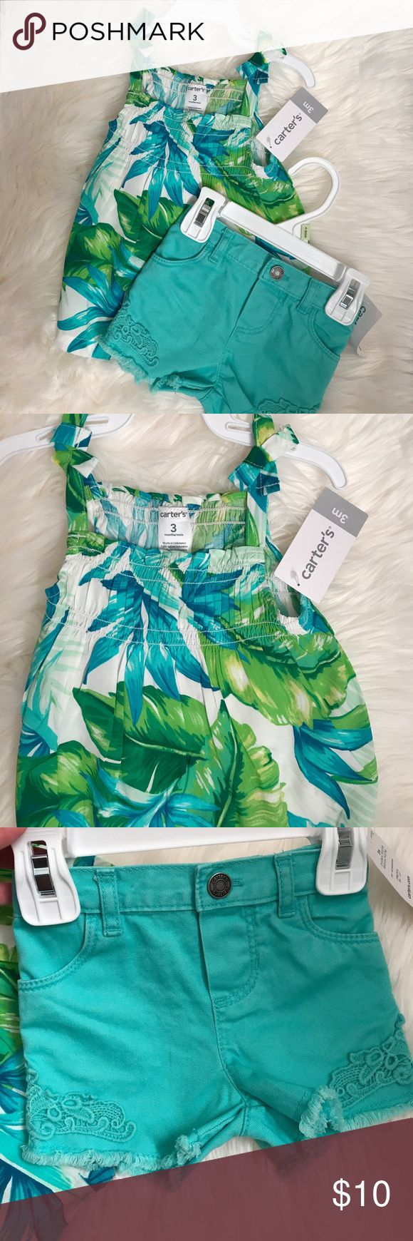 Carters infant girl outfit Brand new, didn't get a chance to wear!! Super cute floral top and turquoise shorts both size 3m. :) Carter's Shirts & Tops Tank Tops