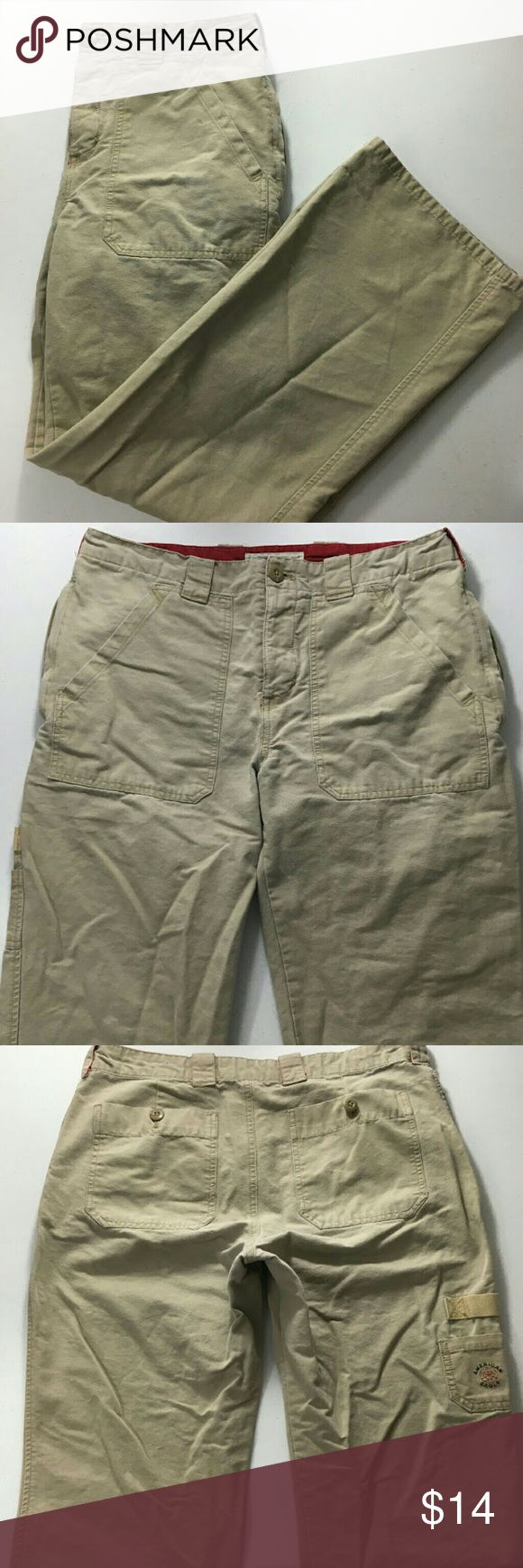 """American Eagle Outfitters Womens Cargo Pants EUC Excellent used condition. Shows some minor wear from normal use, especially at bottom of legs (but nothing major, see pics). Women's size 10. Long sleeves. Color cream/khaki. 100% Cotton. Machine wash. Approx. laying flat measurements: 16"""" waist, 10"""" rise, 30"""" inseam, 40"""" long. Remember to bundle up and save more, so check my closet for other treasure finds. American Eagle Outfitters Pants Trousers"""