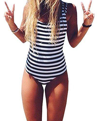 d37faceca95bf CROSS1946 Sexy  Women Monokini  Swimsuit Stripe One Piece Bathing Backless   Bikini M