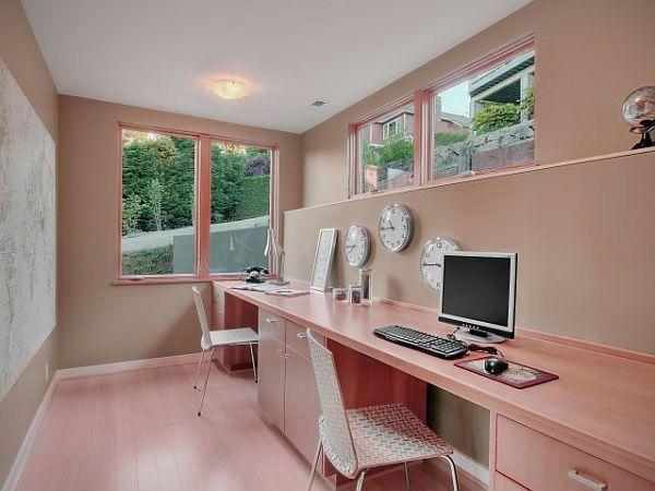 2 Person Office Desk   Furniture: Simple Long Narrow Home Office Desk Design  Ideas Decorating