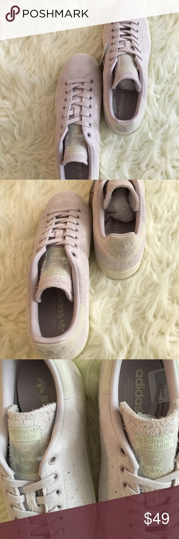 Adidas original Stan smiths in iced purple 👌👌👌 Adidas Stan smith. Size 9.5 women's. Leather and synthetic. Perfect spring shoe🌸🌸🌸🌸so pretty! Brand new in box. adidas Shoes Athletic Shoes