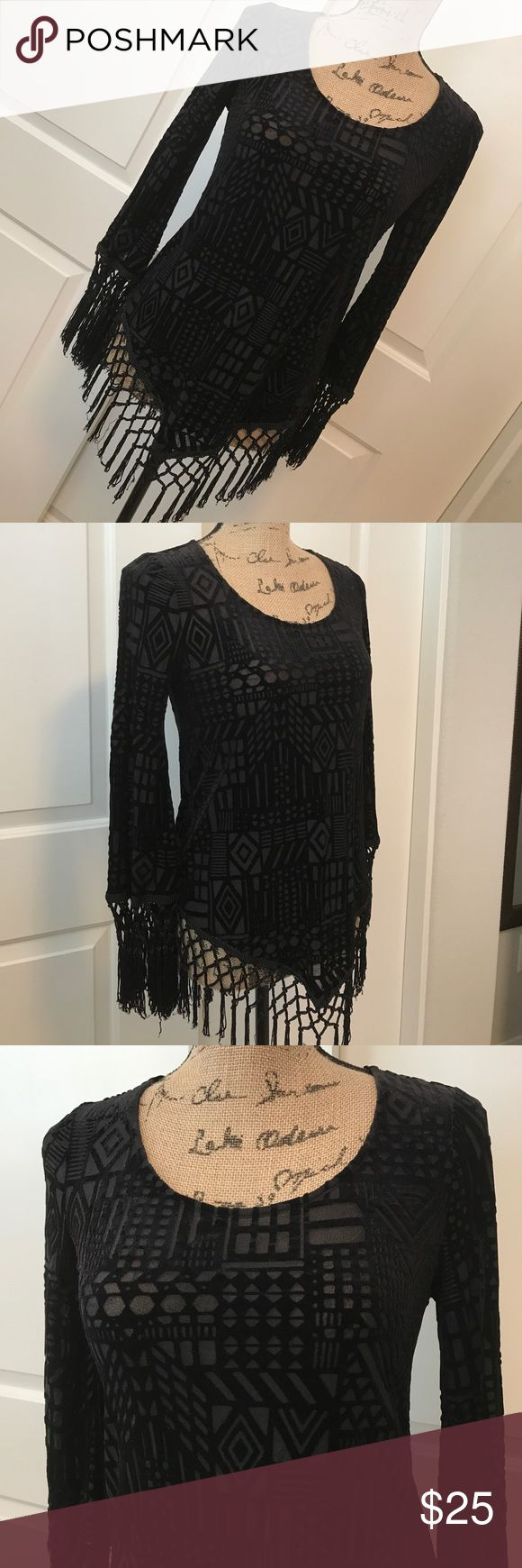 MONTEAU Black Burn Out Fringe Long sleeve Top Boho funky style black fringe top. It has a beautiful velveteen Aztec print burn out design and black fringe along v-line hem and sleeves. Gently worn once. In excellent condition. Monteau Tops