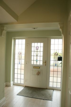Stained glass windows salvaged from original windows and doors now triple glazed to fit composite door.  Radiator, 2 cupboards access to stairs, lounge, kitchen and dining room. Cloakroom with sink and toilet and hanging space, extractor fan.