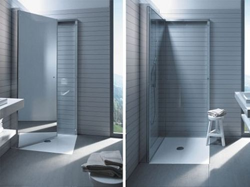 Fold away shower stall tiny spaces pinterest - Stall showers small spaces photos ...
