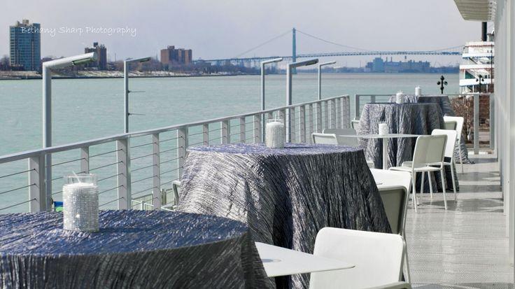 Balcony view of the #Detroit River & Ambassador Bridge | Waterview Loft at Port Detroit | Photo: Bethany Sharp Photography