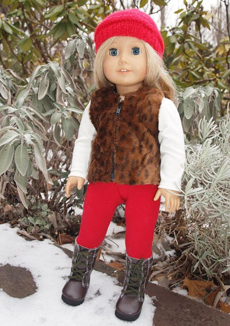 18 inch Doll Clothes  -  American Girl Doll Clothes - Clothing  -  Dolls Outfit - Vest - Leggings  -  Shirt - Hat - Boots