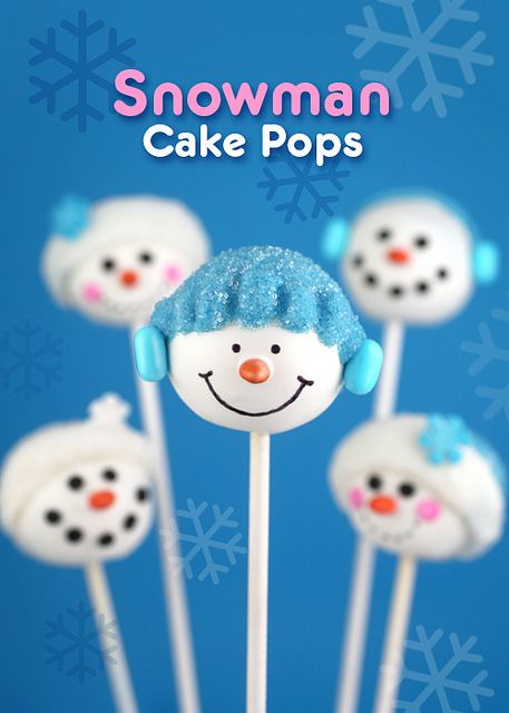 Snowman Cake Pops by @Erin B B Phillips