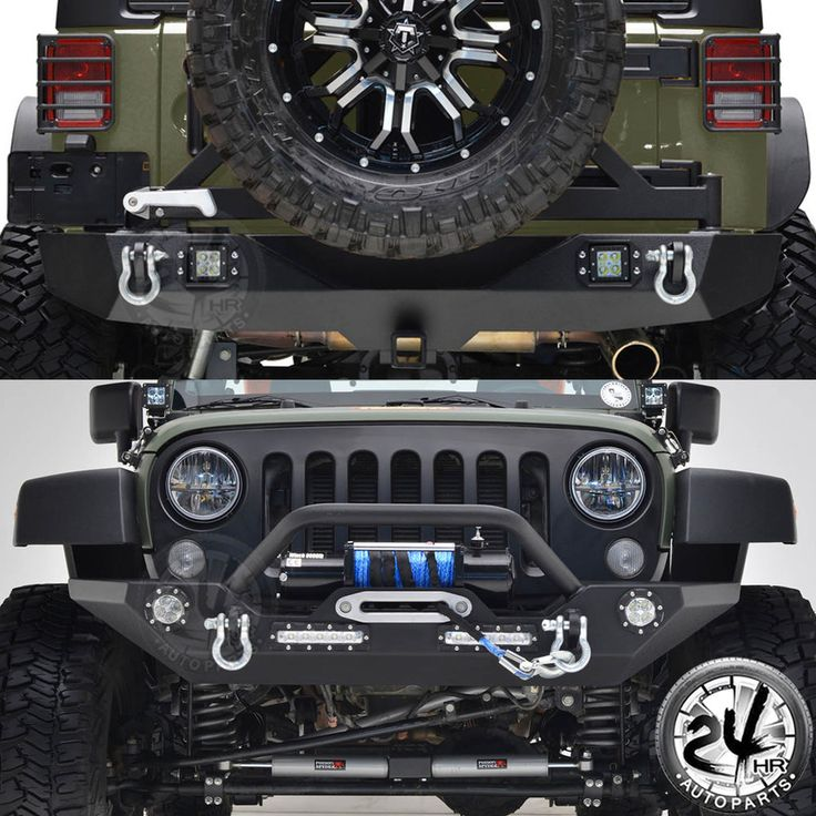 07-16 JK Jeep Wrangler Front Bumper W/LED Light Rear Bumper W/Tire Carrier Combo #24hrautoparts