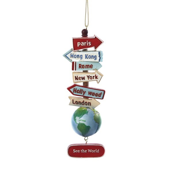 "# C7210  STACKED #WORLD SIGNS WITH #GLOBE ""SEE THE WORLD"" #ORNAMENT #travelornaments"