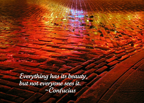 "Inspirational quotes photography abstract neon-light bricks cobblestone water reflection: 'Colors' - 8"" X 10"" print"