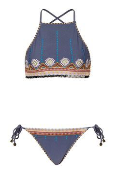 Aztec High Neck Bikini Top and Pants