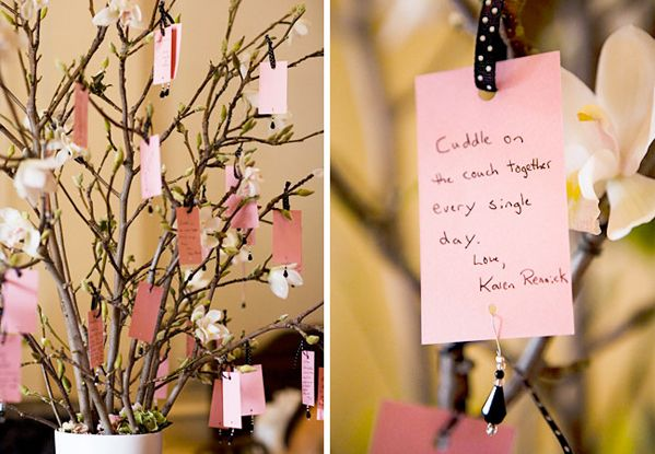 "the ""wishing tree""... a wedding guest book alternative.  could also be a fun activity for a bridal shower."