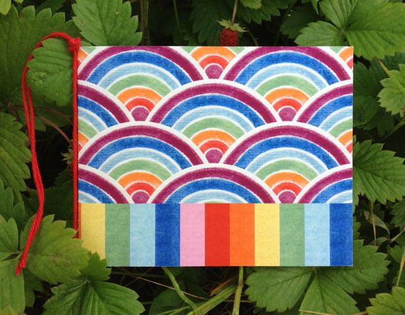 Fun Pair Of Rainbow Art Gift Card Dots Spots Moons by naturewrap, $6.00