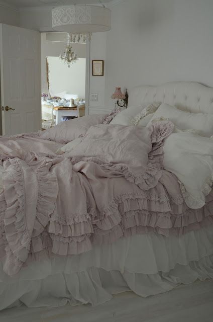 Rachel Ashwell Petticoat Bedding in Pink! 100% hand dyed linen with cotton lace detail...........