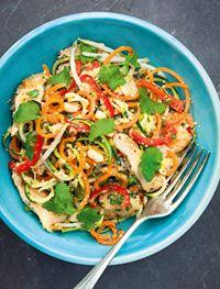 Warm Asian vegetable 'noodle' salad