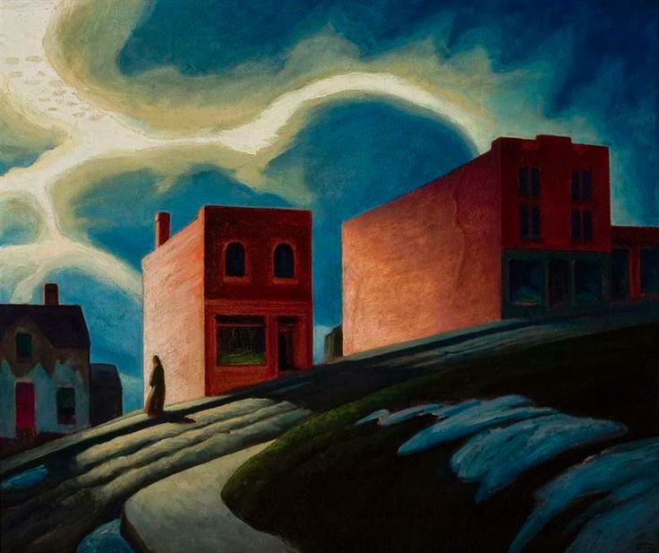 """Ontario Hill Town,"" Lawren Stewart Harris, 1926, oil on canvas, 33 3/4 x 40 1/2"", University of Toronto Art Collection."