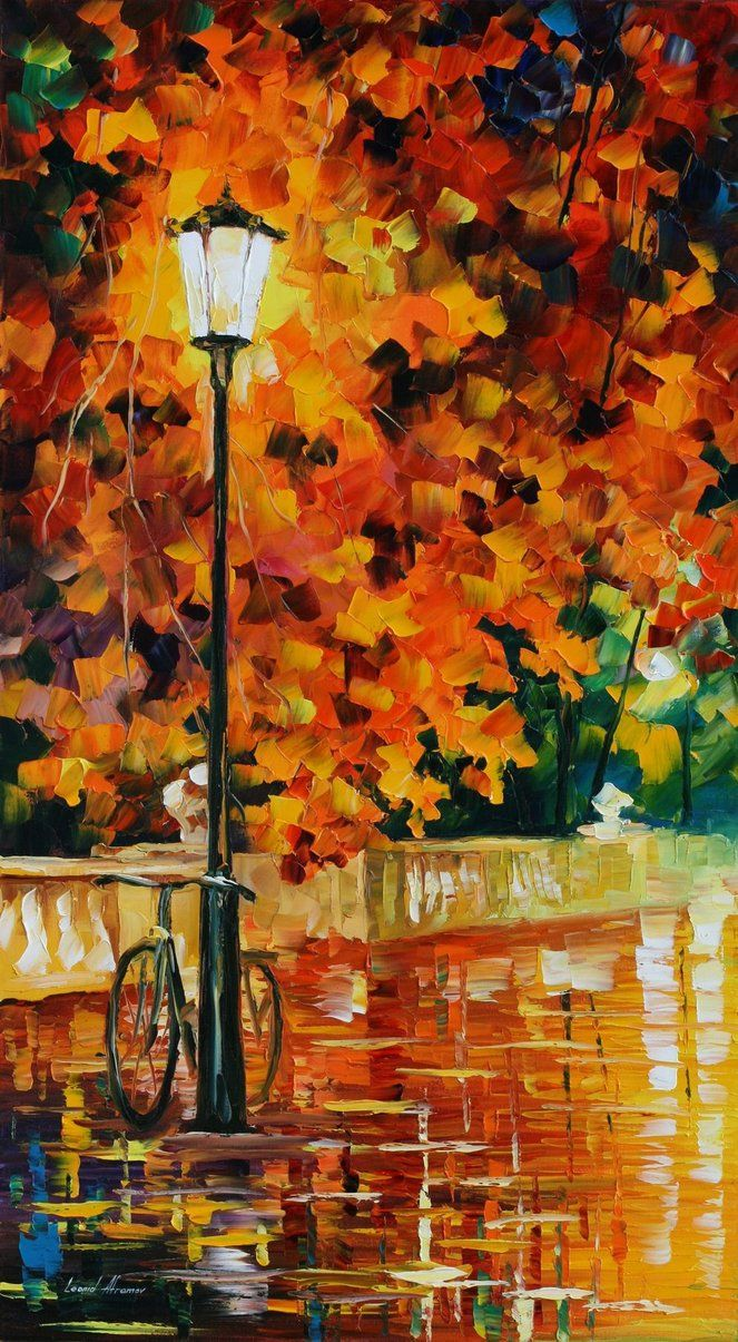 """Lonely Bicycle"" • Leonid Afremov {oil on canvas}"