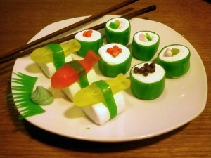 candy dressed up to look like sushi, yum for the kids