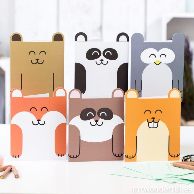 Cartes en forme de animaux - 6 modèles