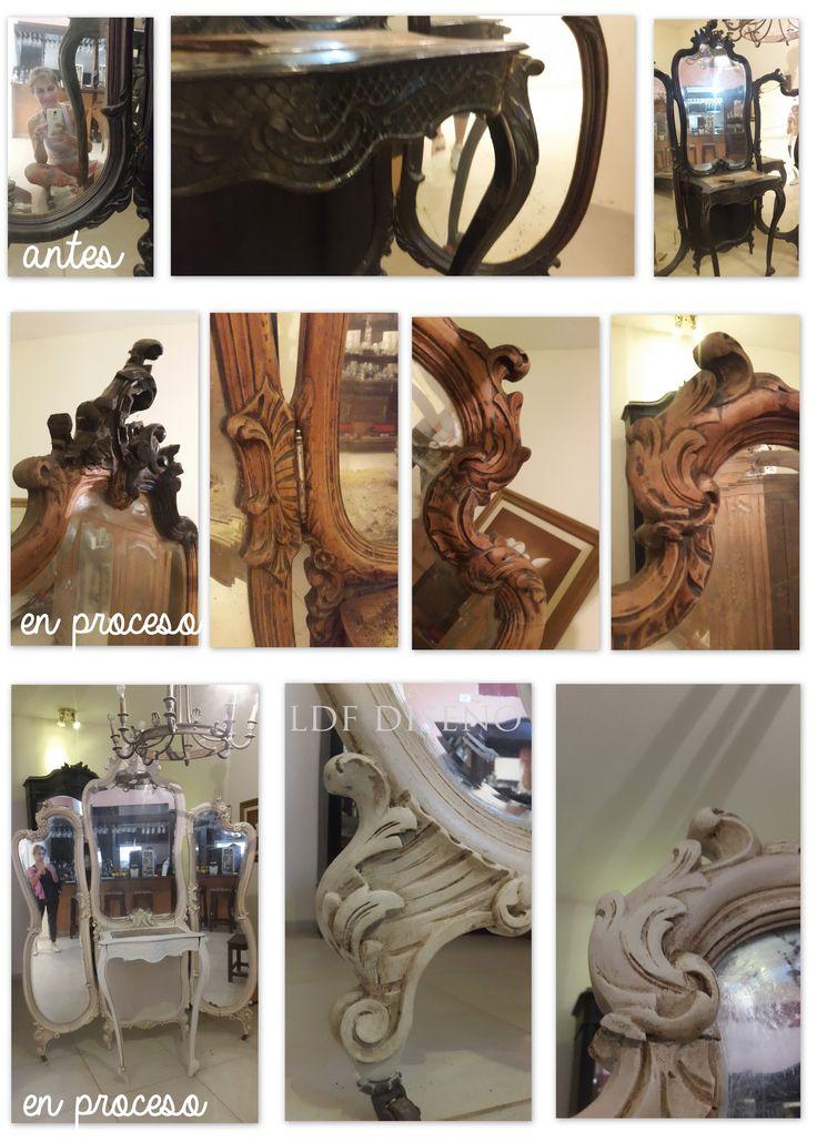 antiguo mueble con espejo. trabajo de restauracion - lavado - pintura - pátina