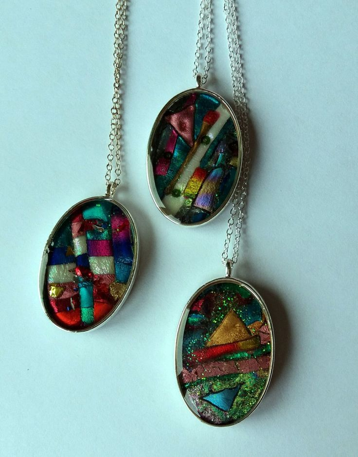 Faux Dichroic Oval Necklace via Liana Marcel. Click on the image to see more!