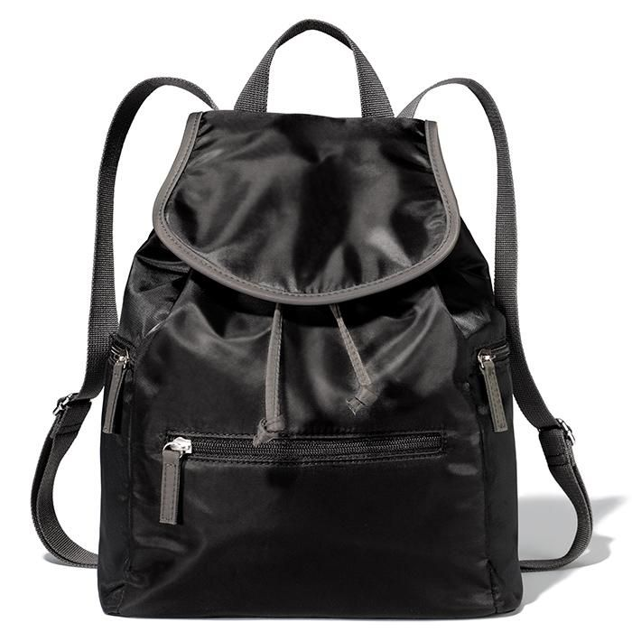 """Falls must-have bag! Roomy 12 1/2"""" H x 10"""" W x 4 1/2"""" D bag has a snap-front close and drawstring closure. Back straps can be adjusted from 15 1/2"""" (shortest) to 29 1/2"""" (longest). Features 1 zip and 2 slip inside pockets and 3 outside zip pockets at the front and sides. · 100% nylon · ImportedIn the event of unforeseen demand, please allow 2 extra weeks for delivery.While supplies last."""
